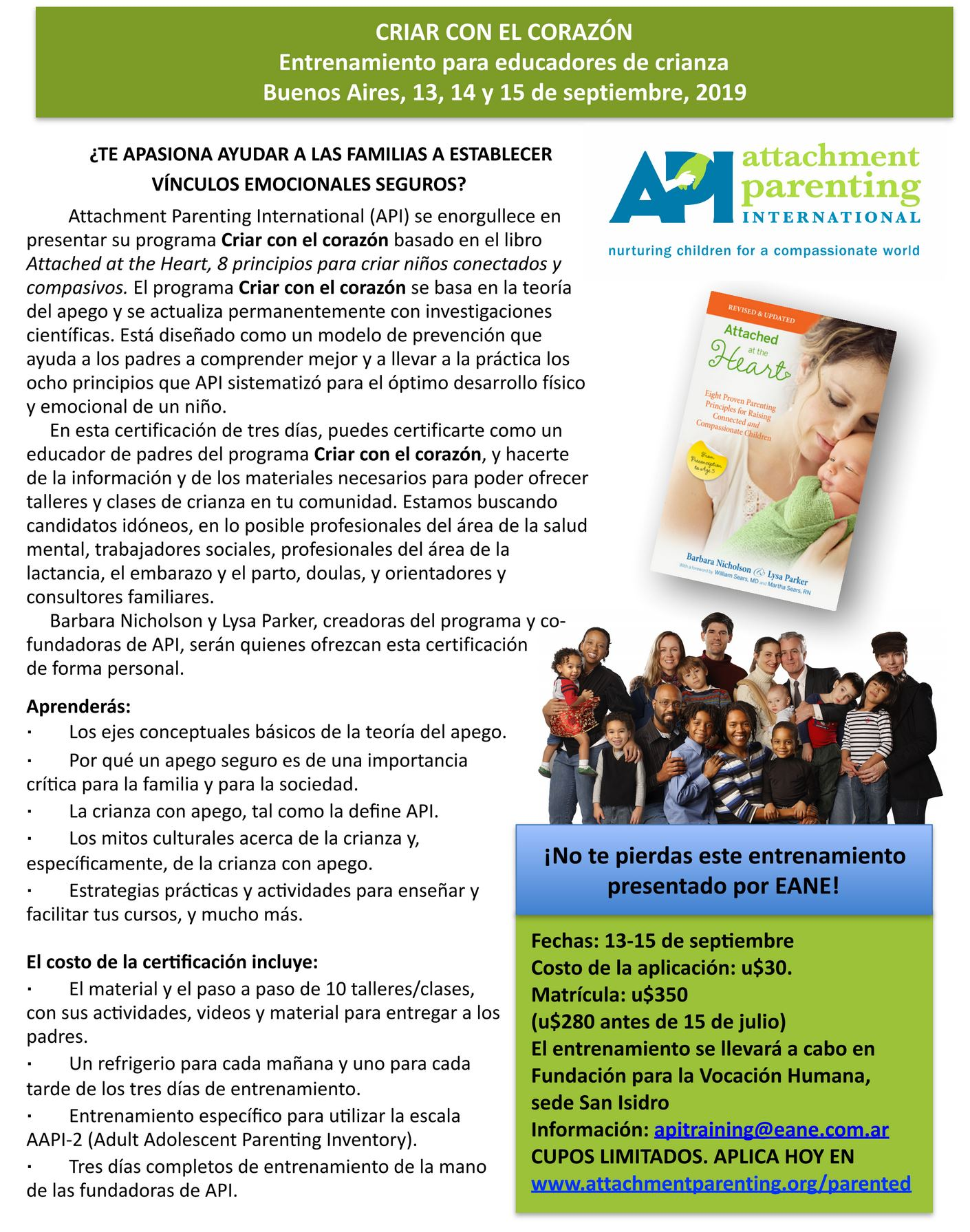 ¿QUERÉS SER EDUCADOR DE MADRES/PADRES en tu comunidad? Attachment Parenting International